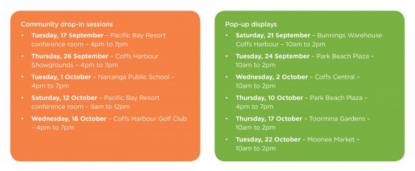 Community information sessions and pop up display locations